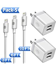Phone Charger (Pack of 5), DENWAN 3ft+6ft+10ft Long Charging Cable and Dual USB Wall Plug Charger Block Cube Compatible with iPhone Xs/XR/X 8/7/6/Plus SE/5S/5C, iPad Air Mini Pro (UL Certified)