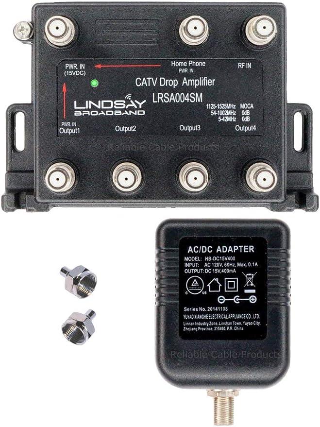 Lindsay LRSA004SM - Amplificador de señal Digital de 4 Puertos para TV, Antena, HDTV o Internet