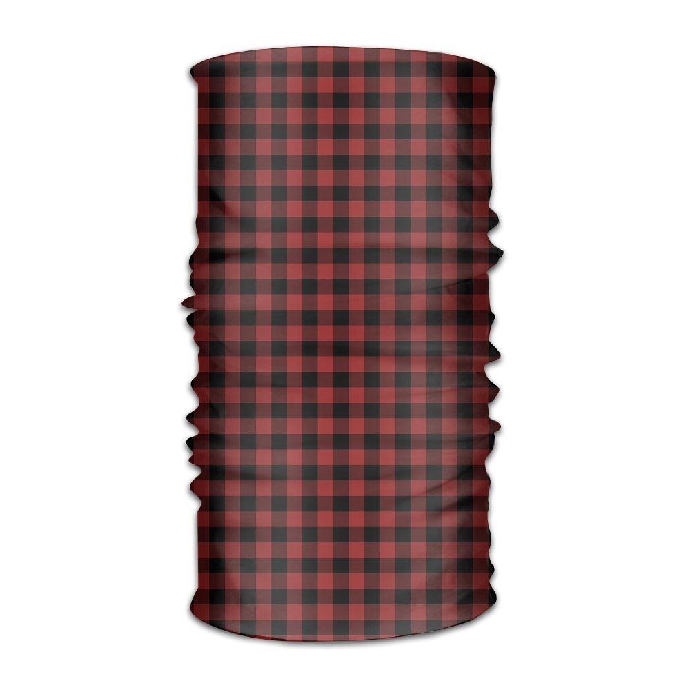 Owen Pullman Multifunctional Headwear Small Red Plaid Head Wrap Elastic Turban Sport Headband Outdoor Sweatband