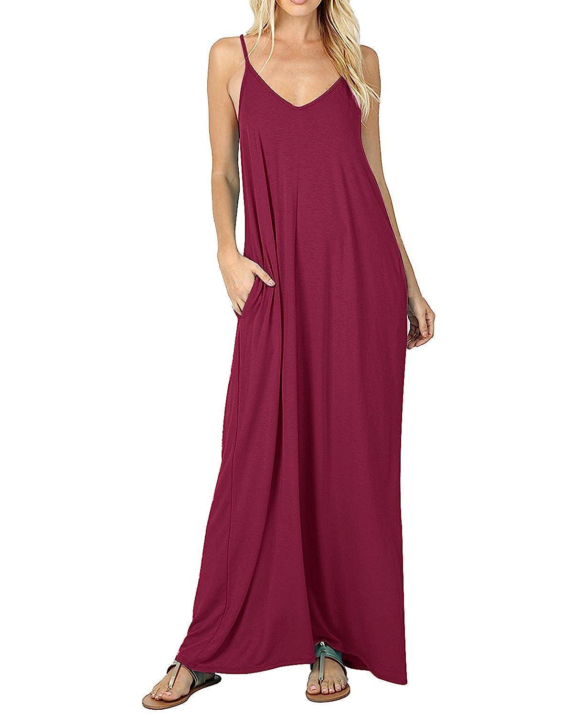TALLA L. ACHIOOWA Mujer Vestido Elegante Casual Dress Cuello V Sin Manga Playa Tirantes Bolsillos Punto Falda Larga Rojo-vino