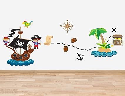 Adesivi da parete in vinile per cameretta dei bambini pirati motivo
