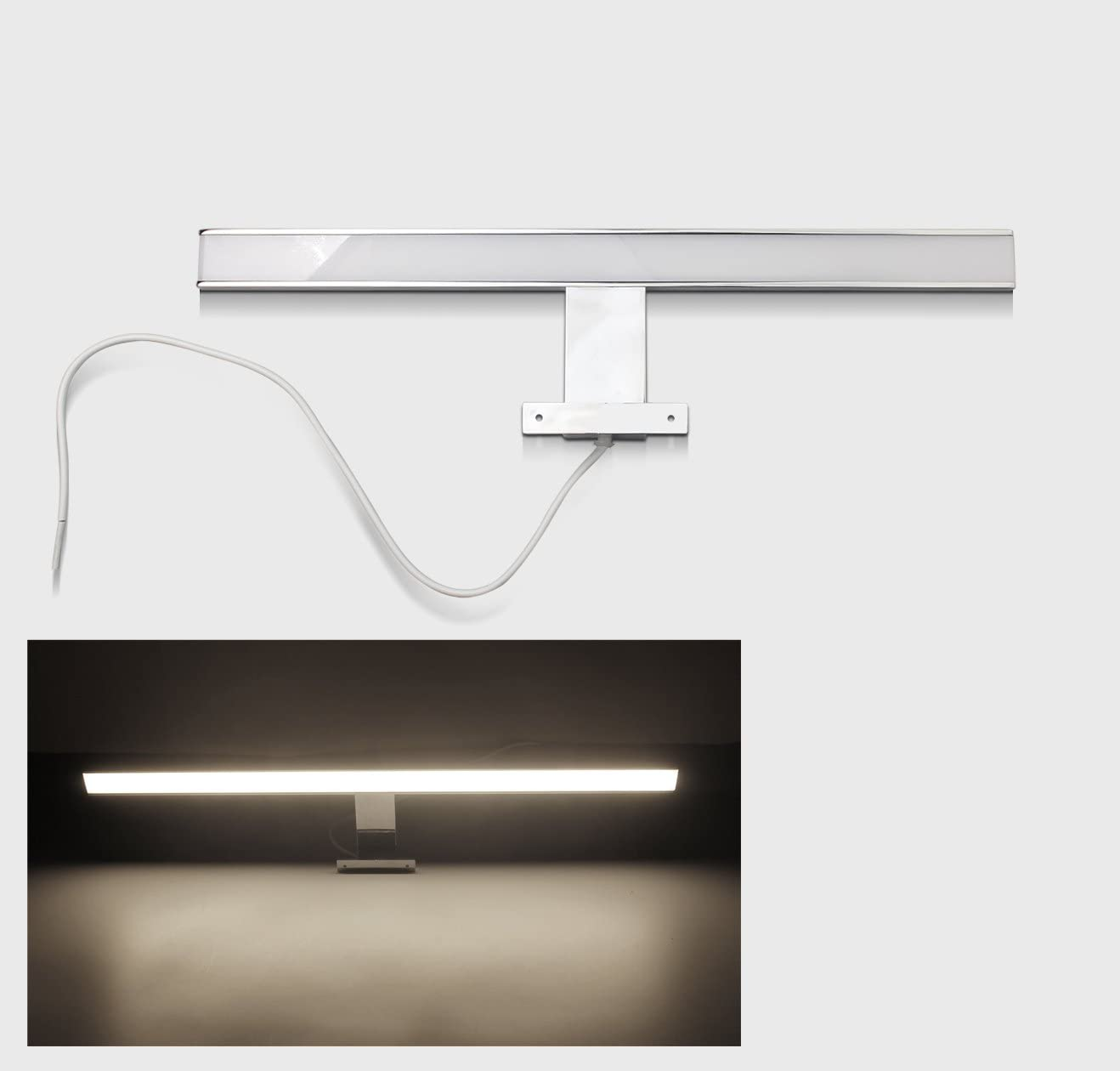 /L/ámpara LED de ba/ño espejo l/ámpara de 40//60//80/cm ba/ño Proyecci/ón Cromado Armario 40cm//6W Neutralwei/ß Top/
