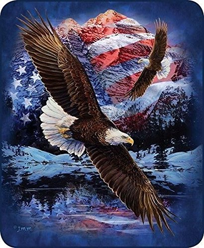 Eagle Polyester Flag - Regal Comfort Queen Size Blanket Snow Eagle Patriotic US American Flag Mink Faux Fur Super Soft Plush
