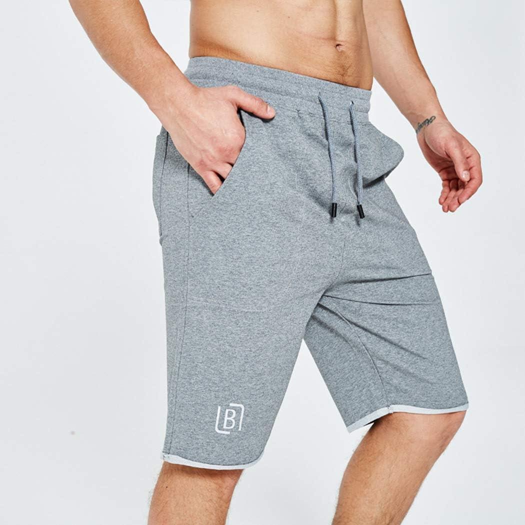 xzbailisha Mens Casual Solid Color Soft Cotton Elastic Jogger Gym Shorts