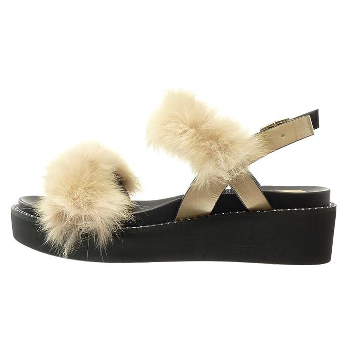 Angkorly Damen Schuhe Sandalen Mule - Plateauschuhe - Bommel - Pelz Keilabsatz High Heel 5 cm