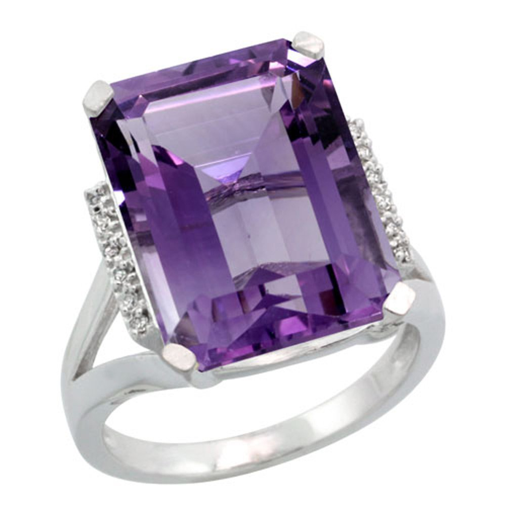 Sterling Silver Diamond Natural Amethyst Ring Emerald-cut 16x12mm, 3/4 inch wide, size 9.5