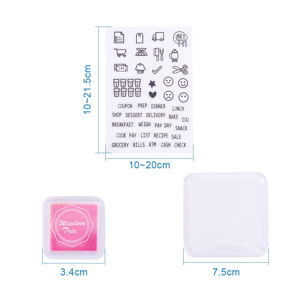 Pandahall Elite 24 Pcs DIY Scrapbook Inkpad and 4 Sheets Clear Stamps Work with 1 Pcs Stamp Block for Card Making Decoration and Scrapbooking
