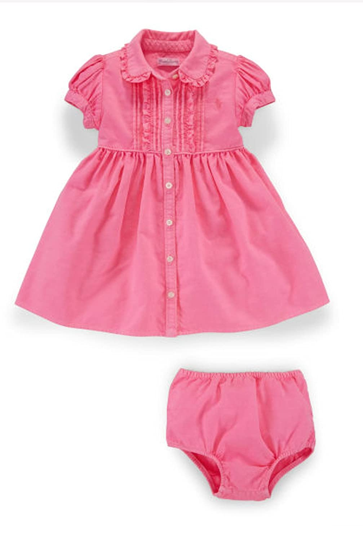 91ba2ed2f2878 Amazon.com  Ralph Lauren Baby Girls Ruffled Oxford Shirtdress-Pink-6  Months  Clothing