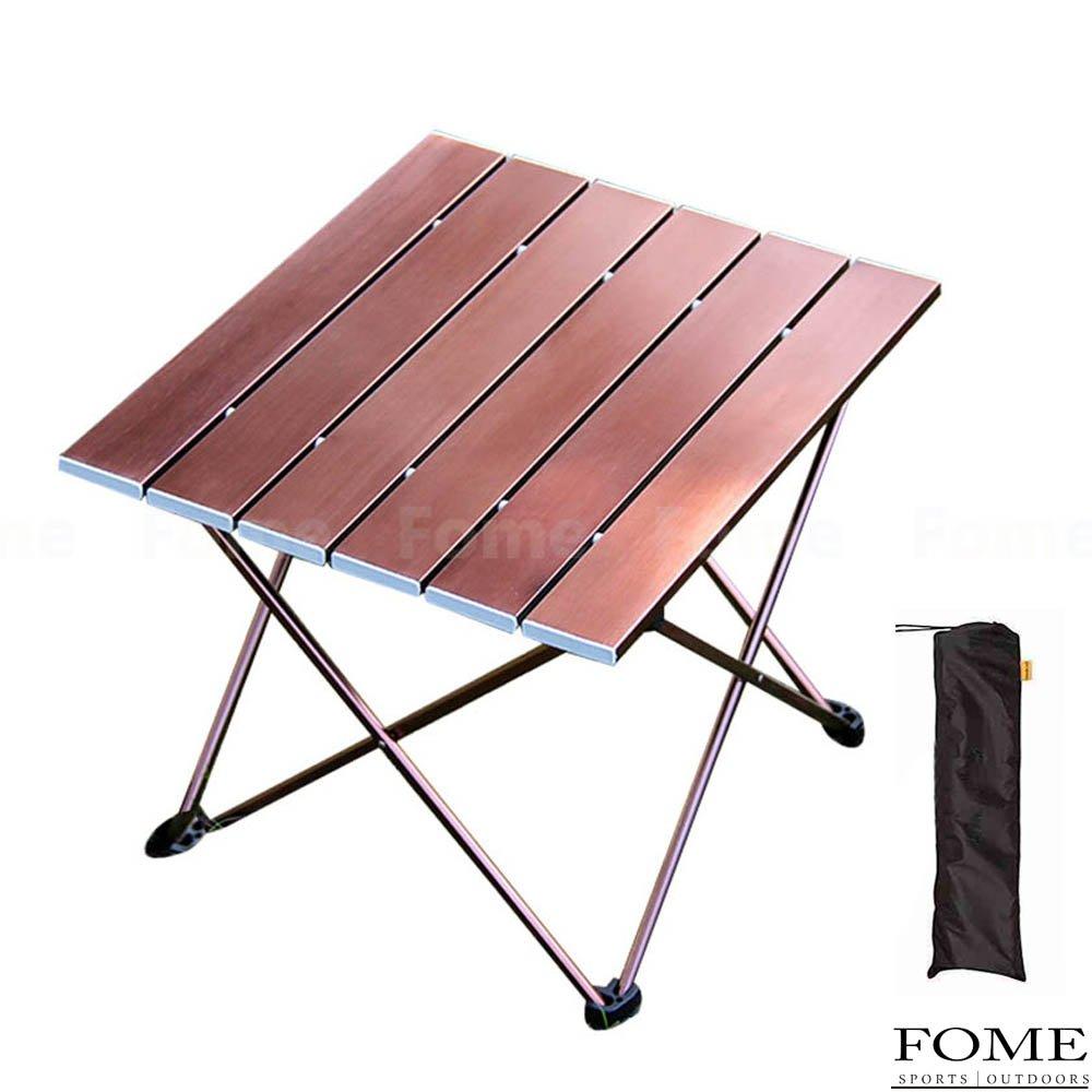 Folding Campテーブル、iDeepポータブルコンパクトアルミ折り畳みテーブルroll-upテーブルキャンプテーブルwith Carry Bag forピクニックキャンプビーチ15.7 X 13.6 X 12.6in ) B0756Z5GZ2  Wooden