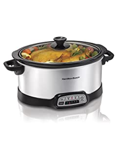 Hamilton Beach (33473) Slow Cooker Crock with Touch Pad and Flexible Easy Programming Options, 7 Quart Dishwasher Safe Pot, Silver