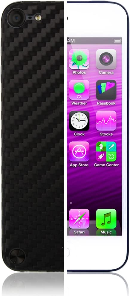 Skinomi Black Carbon Fiber Full Body Skin Compatible with Apple iPod Touch 5 (5G, 5th Gen)(Full Coverage) TechSkin with Anti-Bubble Clear Film Screen Protector