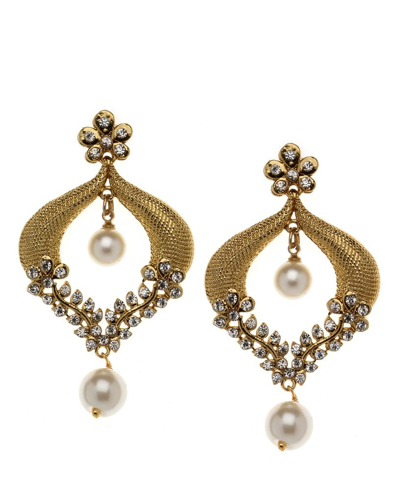 Bindhani Indian Bollywood Style Bridal Wedding Earrings For Women (White)