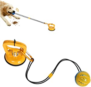 Wosweet Dog Chew Suction Cup Toys Interactive Dog Tug of War Toy Pet Aggressive Chewers, Multifunction Squeaky Toys Ball with Teeth Cleaning and Food Dispensing Features