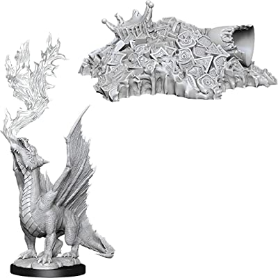 D&D Nolzur`s Miniatures: W11 Gold Dragon Wyrmling & Small Treasure Pile: Toys & Games