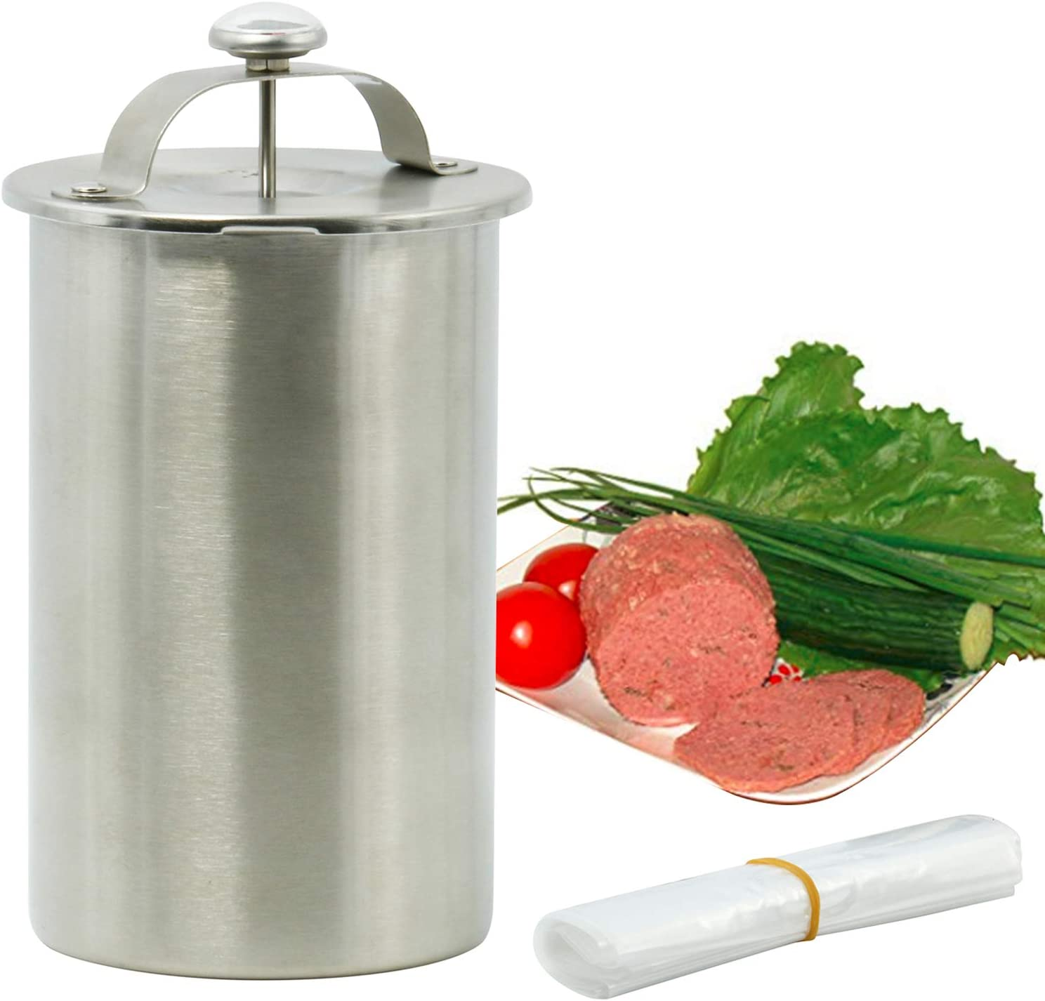 Homend Stainless Steel Meat Press for Making Healthy Homemade Deli Meat with Thermometer,Include 20 PCS Cooking Bags