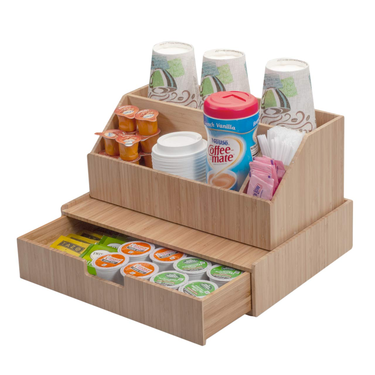 Bamboo Drawer Plus All-In-One Complete Condiment & Accessory Combo Organize K-Cups, Espresso Pods, Tea, Disposable Cups & Lids, Sugars, Creamer & more