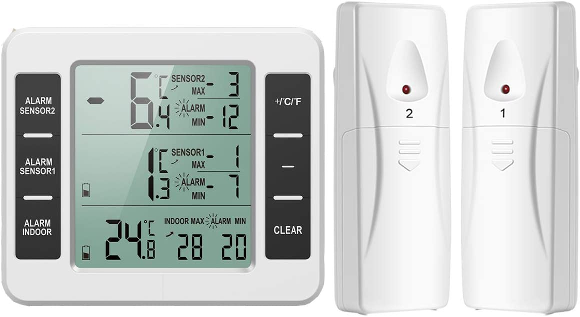 ORIA 2 Wireless Sensors Refrigerator Thermometer, Freezer Thermometer Indoor Outdoor, Digital Temperaure Trends, ℃ and ℉ Switchable