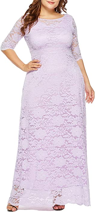 4696ce95187 Eternatastic Womens Floral Lace 2 3 Sleeves Maxi Dress Plus Size Evening  Party Dress ...