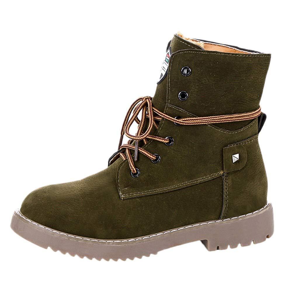 ZHRUI Stiefel Damen Schuhe Stiefeletten Mode Frauen Flache Untere Warme Schuhe Martin Stiefel Student Freizeitschuhe (Farbe   Grün Größe   35 EU)