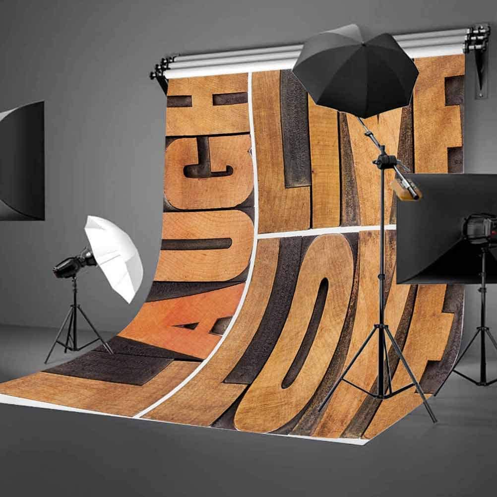Live Laugh Love 6.5x10 FT Backdrop Photographers,Macro Calligraphy with Life Message Inspirational Digital Graphic Background for Baby Birthday Party Wedding Vinyl Studio Props Photography