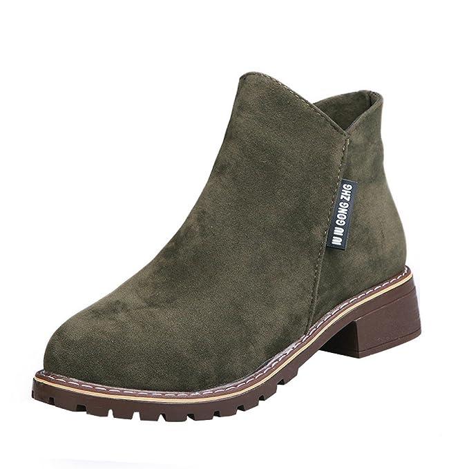 Botines para Mujer Otoño Invierno,ZARLLE Moda Botas clásicas Botines Martin Plataforma Casual Zapatos de Cuero Nobuk Señora Calzado de Dama Talla Grande: ...