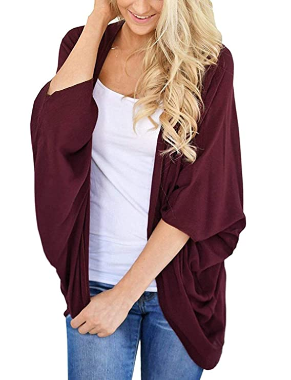 Women's Kimono Cardigan Sweater Open Front Loose Fit Cardigans Cover Up Wine Red XXX-Large best kimono tops