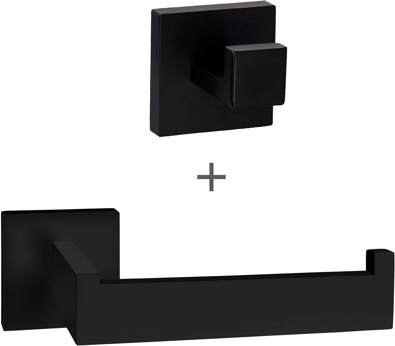 ECENCE Juego de portarrollos y toallero - Diseño Cuadrado - Accesorios para baño - de Acero Inoxidable Negro 42040207