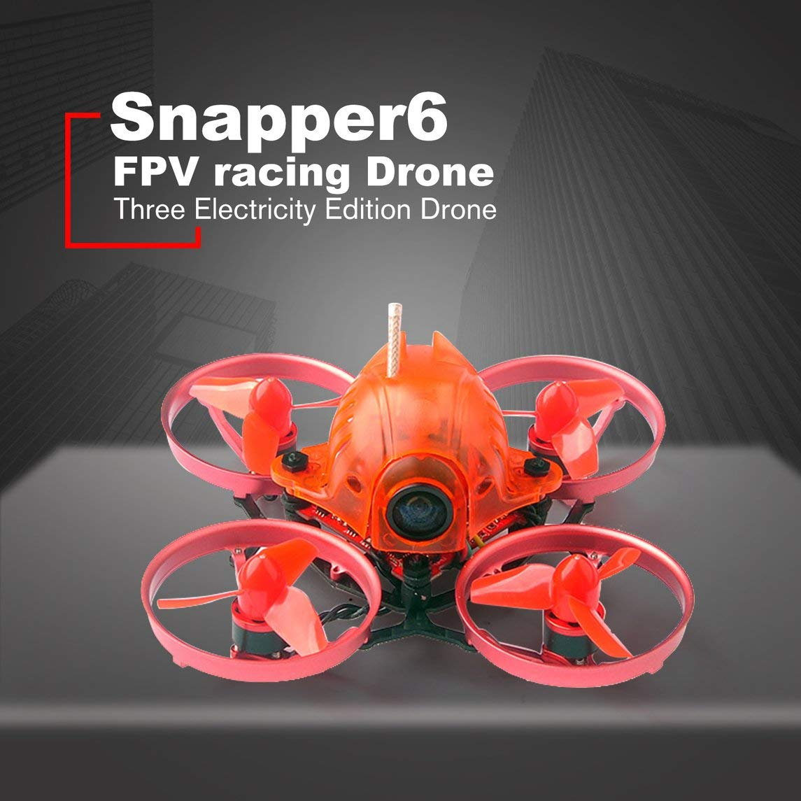 Footprintse Happymodel Snapper6 65mm Micro 1S Brushless FPV RC Drone mit F3 OSD 5A ESC BNF-Farbe: rot