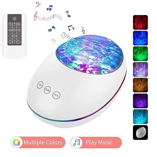Lámpara Proyector, lámpara de cabecera para bebés con control remoto 8 modos de iluminación Temporizador Bluetooth Música Altavoz Regalos para niños ...