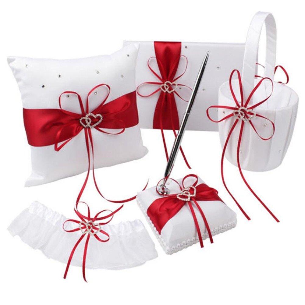 5Pcs//lot Romantic Wedding Decoration Set Rhinestone Stain Ribbon Wedding Ring Pillow Pen Girls Flower Basket Guest Book Garter for Wedding Party Decor Accessories