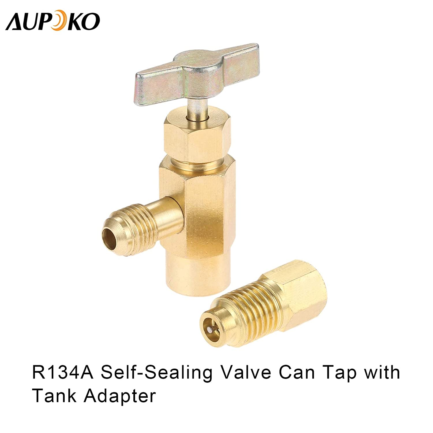 1//2/'/' Acme to 1//4/'/' SAE Refrigerant Can Bottle Tap Opener with 1//4/'/' SAE Female and 1//2/'/' Acme Male Adapter R134A Self-Sealing Can Tap with R134A Tank Adapter Fits for Air Conditioner Manifold