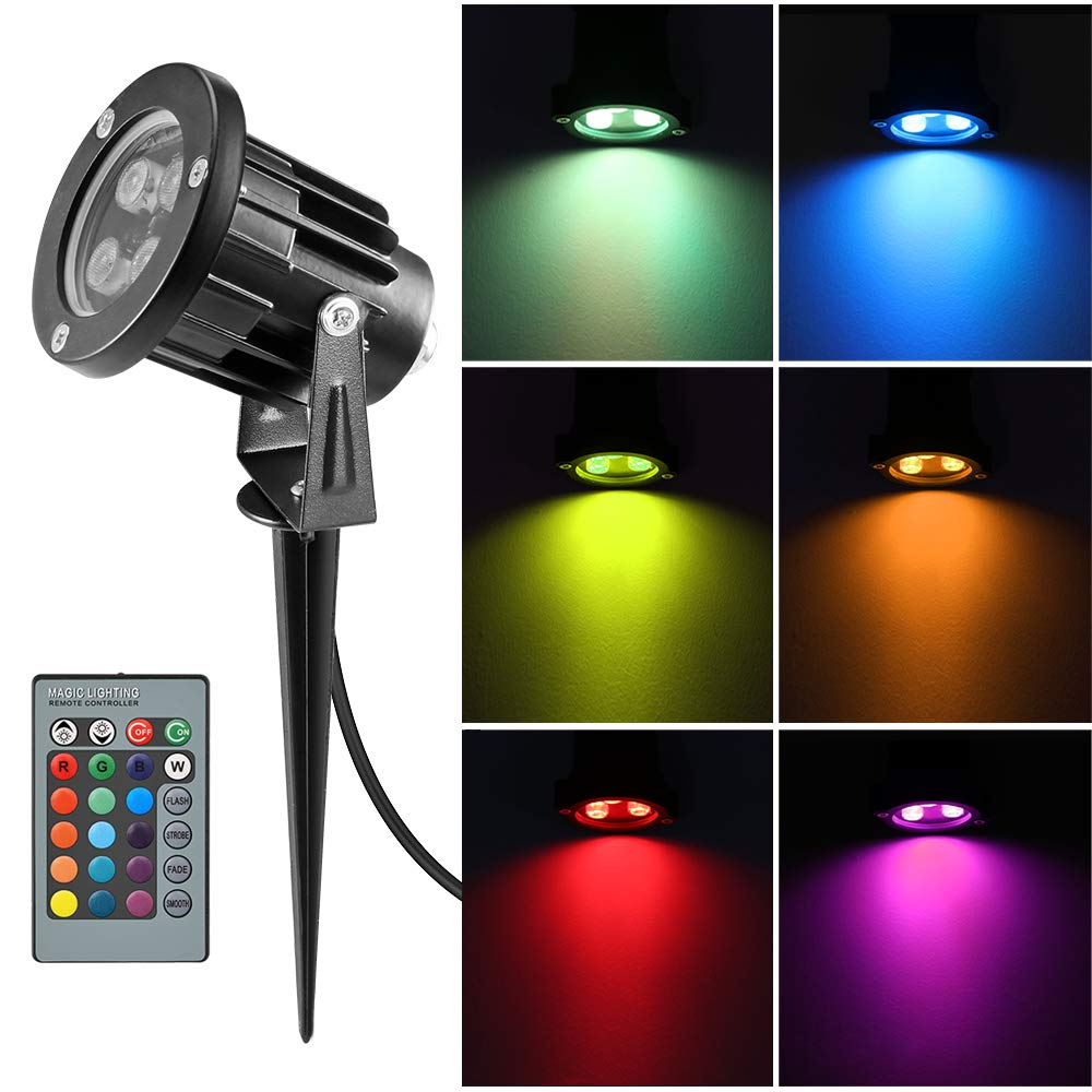 OurLeeme RGB Landscape Lights, Outdoor Spotlight with Stake,Lawn Flood Light  12W, Waterproof LED Flood Lights,Color Changing Spotlight with Remote  Control ... - Amazon.com : OurLeeme RGB Landscape Lights, Outdoor Spotlight With