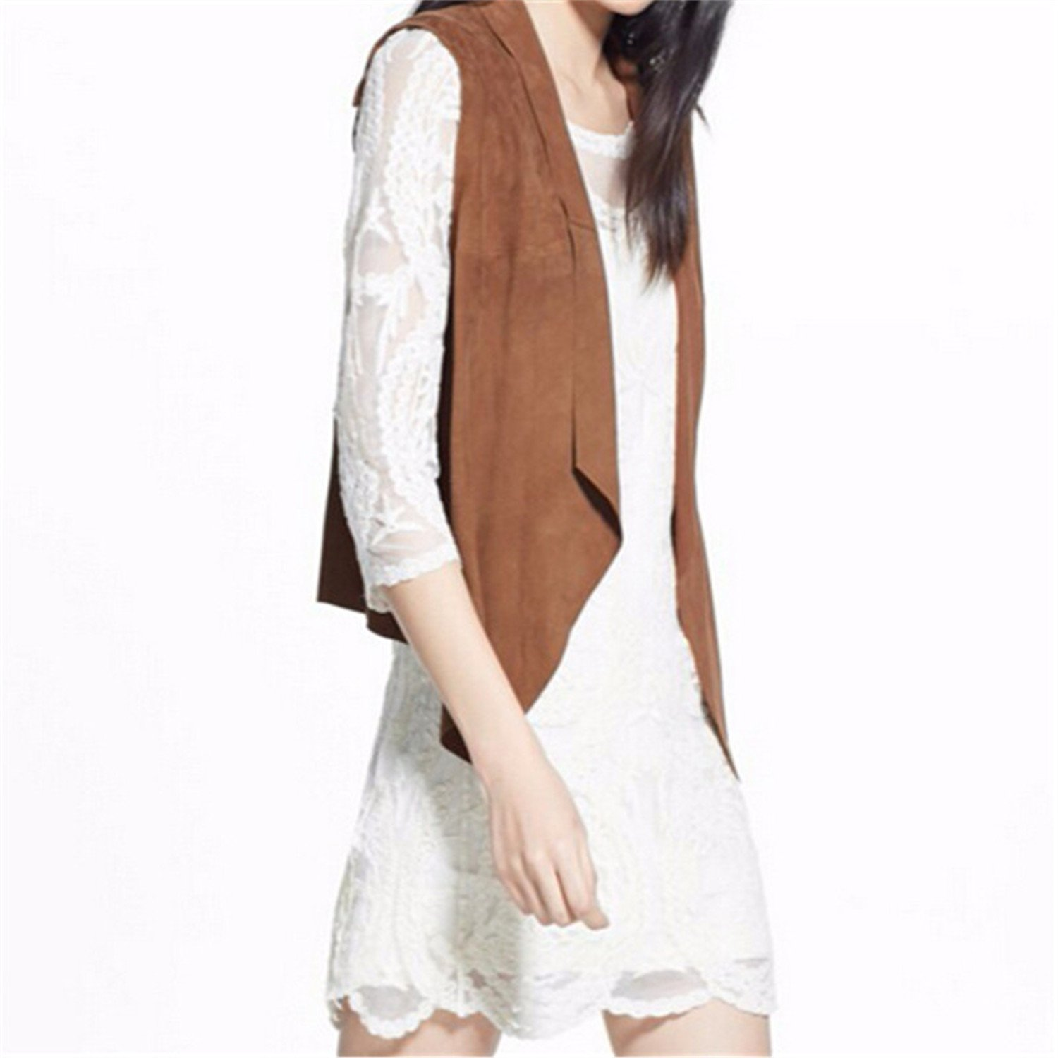 Penin Brown Suede Solid Turn Down Collar Fashion New Sleeveless Jacket Vests Of Women Autumn Sumer Plus Size Female Vest Brown Colete Feminin 7Xl at Amazon ...