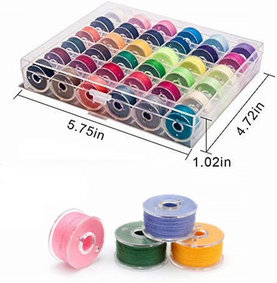 Elna YEQIN 36Pcs Bobbins and Sewing Threads with Bobbin Case and Bobbin Clamps for Multiple Sewing Machine BabyLock Pre-Wound Bobbins Set Standard Size and Black Threads for Brother Janome