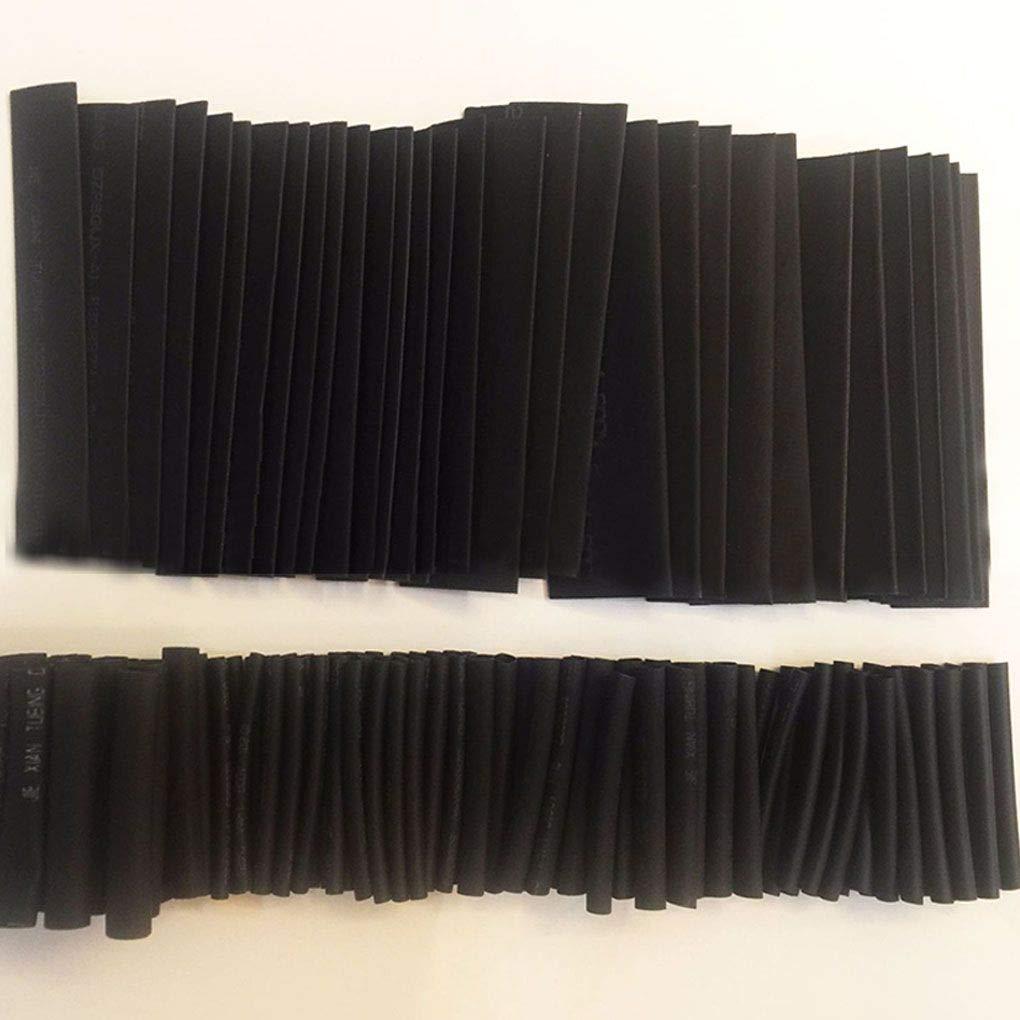 Elenxs 127PCS Negro Pegamento Resistente a la Intemperie Manguitos de termocontracci/ón tubing Tubo del Kit del Sistema de Surtido