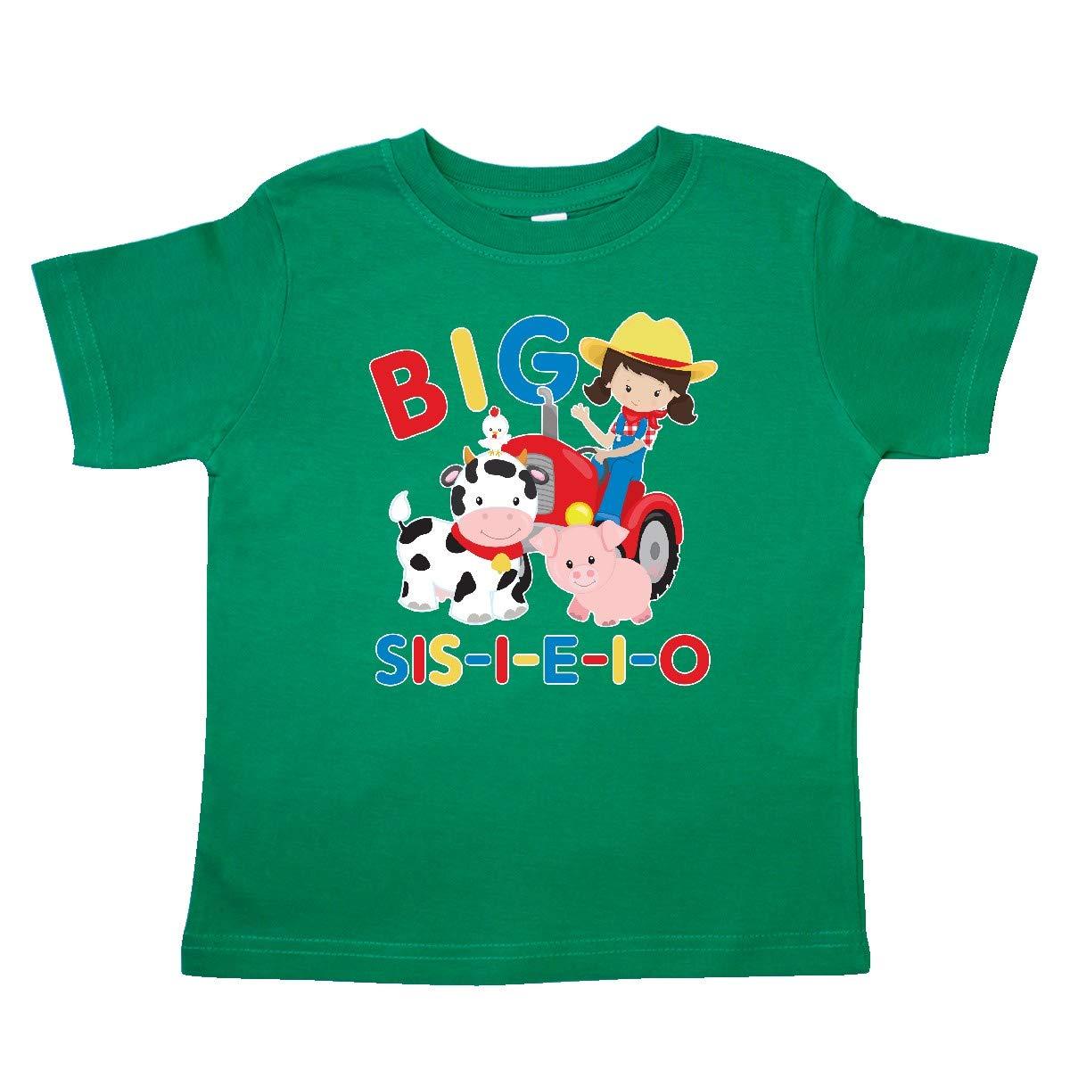 inktastic Farmer Tractor EIEIO Big Sis Toddler T-Shirt