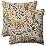 Pillow Perfect Indoor/Outdoor Paisley Corded Throw Pillow, 18.5-Inch, Starlight, Set of 2