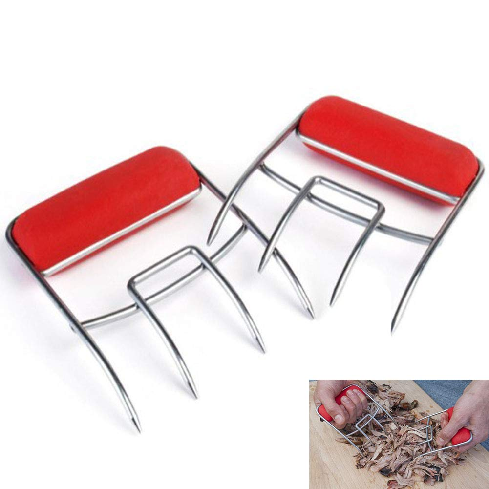 RANRANHOME Metal Meat Claws/Shredder Claws,Meat handling & Shredding Claws for Pulled Beef, Pork, Chicken, 2 (red)
