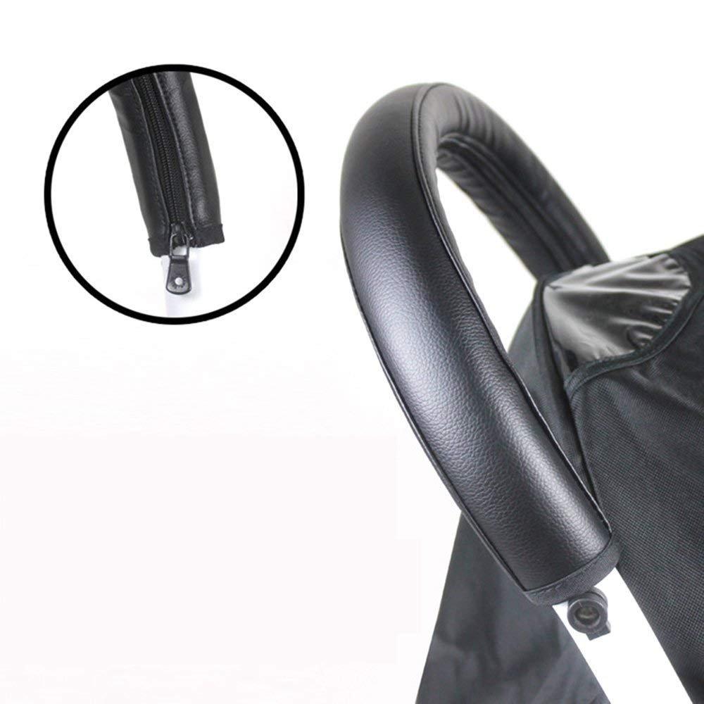 SGerste Baby Stroller PU Waterproof Armrests Front Handle Bar Grip Protective Zipper Cover Accessories-G