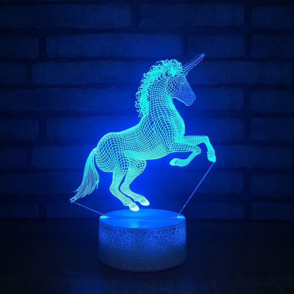 4 PACK, 3D optische Täuschung Nachtlicht Einhorn Pferd LED Tisch Schreibtischlampe 7 Farbe automatisch wechselnden USB-Ladegerät Powerotfor Baby Schlafzimmer Dekoration Kinder Geschenk
