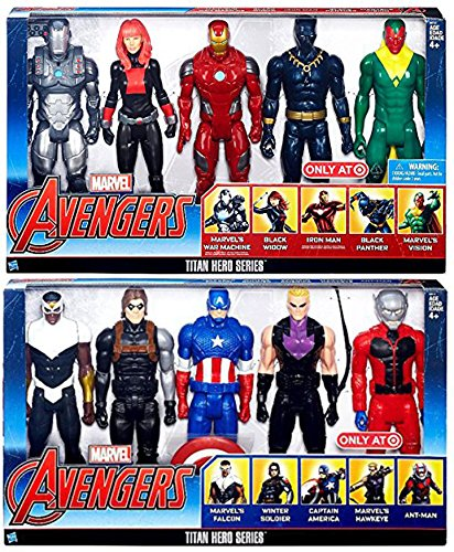Ultimate Marvel Titans Exclusive 10-Pack Hero Series Iron Man War Machine Black Panther Widow Vision Captain America Falcon Ant-Man Winter Soldier Hawkeye Action Figures