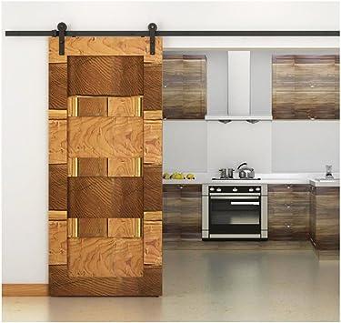 10 FT doble puerta corredera puerta de granero pista hardware Kit (negro) estilo antiguo: Amazon.es: Bricolaje y herramientas