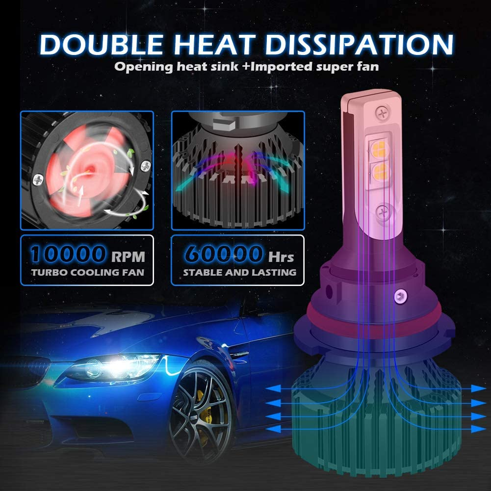 3 Yr Warranty KATUR H1 LED Headlights Bulbs Super Bright Chips 16000LM Waterproof All-in-One LED Headlight Conversion Kit 60W 6500K Xenon White