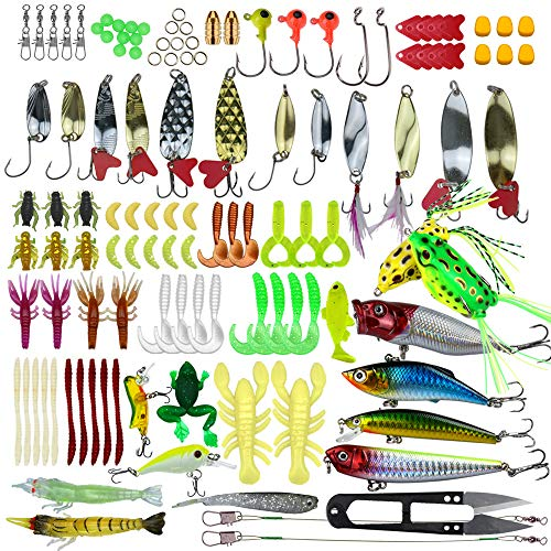 Larruping 235 Pieces Fishing Lures Kit Universal Assorted Fishing Lures Tackle Box Including Crank baits Spinner baits Soft Plastic Worms Lures Fishing Jigs Fishing Hooks