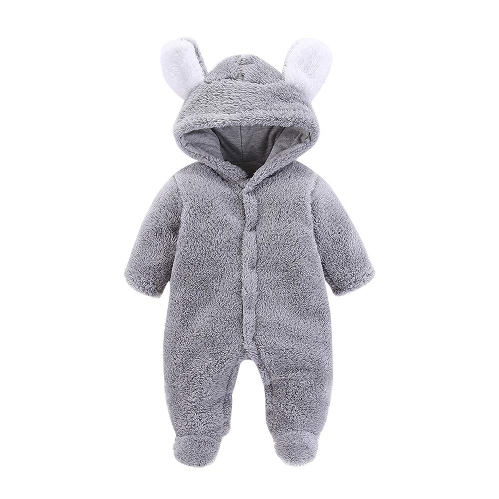 LianMengMVP Baby Romper, Newborn Boys Girls Thick Warm Fluffy Hooded Romper Jumpsuit Outfit Infant Autumn Winter Clothes Home Costume for 0-12 Months