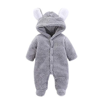 Zhen+ Unisex Baby Plüsch-Overall für 0-12 Monate Junge Mädchen Samt-Jumpsuit Strampler Einfarbige Bodysuit Säugling Spielanzu