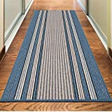 """NEW BLUE COLORFUL MODERN WASHABLE NON SLIP KITCHEN UTILITY HALL LONG RUNNER DOOR MAT RUG (5 SIZES AVAILABLE) (66x225cm (2'2""""x7'4""""))"""