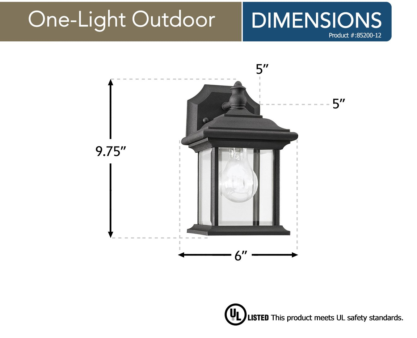 Sea Gull Lighting 85200-12 Wynfield One-Light Outdoor Wall Lantern with Clear Beveled Glass Panels Black Finish