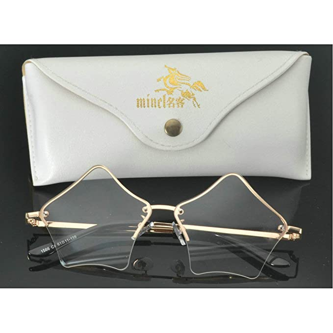 e68573aa45d9 MINCL Super Cute Star Shape Rimless Sunglasses Metal Frame Transparent  Candy Color Eyewear (clear