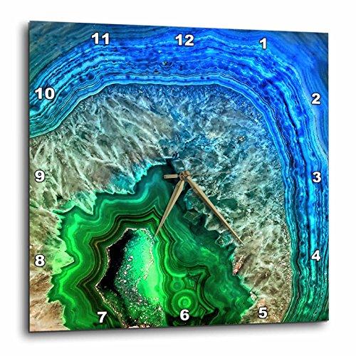 3dRose Uta Naumann Pattern - Image of Luxury Indigo and Green Marble Agate Gem Mineral Stone - 15x15 Wall Clock (dpp_274959_3) (Stone Green Agate)